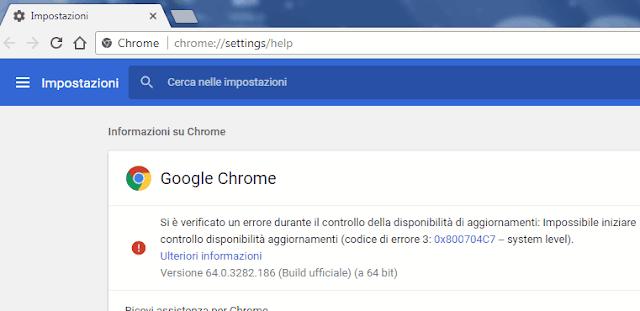 Pagina Informazioni su Chrome errore durante la ricerca aggiornamenti