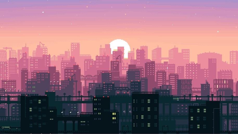 8 Bit, Pixel Art, Digital Art, Night, City, Buildings, Cityscape, 4K, #63