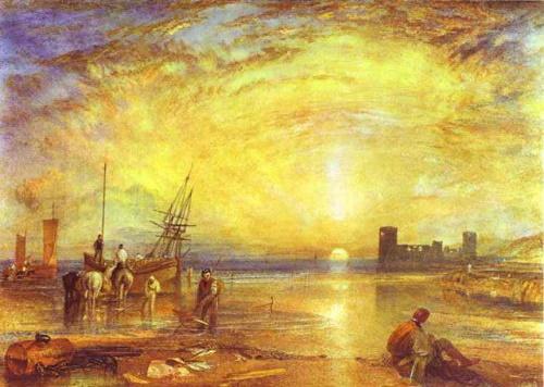 Sol Nascente com Pescadores, pintura de Tuner. #PraCegoVer