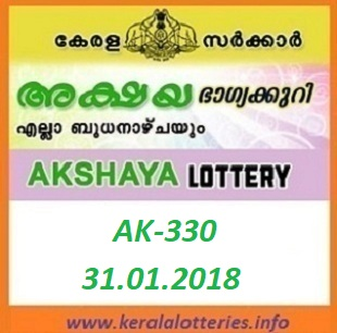 AKSHAYA (AK-330) LOTTERY RESULT ON JANUARY 31, 2018