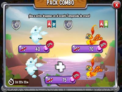 imagen de la oferta del dragon nube y pajaro de fuego de dragon city