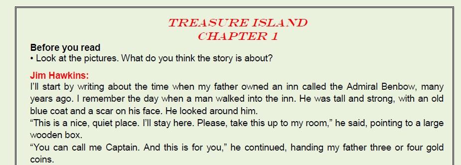النص المدرسي و الأسئلة الخاصة بقصة Treasure island للصف الاول الثانوي ترم اول2020