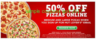 free Pizza Hut coupons for april 2017