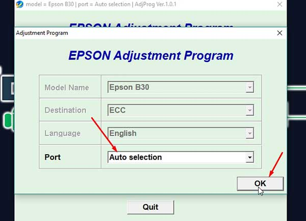 Software reset impresora epson Stylus Office B1110