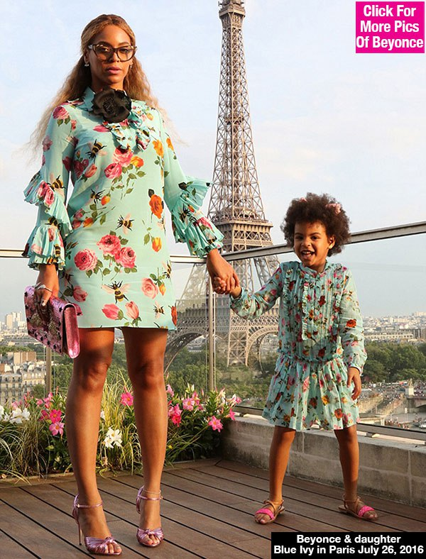 Beyonce & Blue Ivy Wear Matching Floral Dresses While Vacationing In Paris — Pics