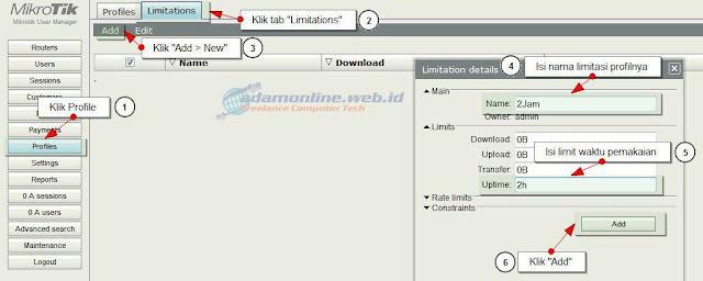 usermanager limitation profile