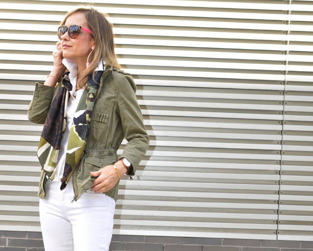 Military Jacket Zara, Louis Vuitton Neverfull, Dior scarf, Coach sunnies,  Sudio Sweden www.myladytrends.com