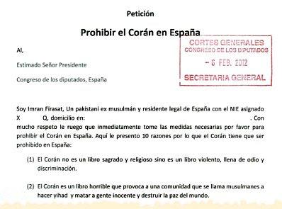 Petición Prohibir el Corán en España