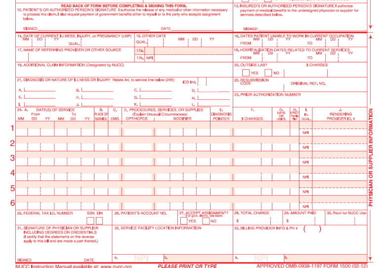 Hcfa 1500 Form Updates 2014 Images - Reverse Search