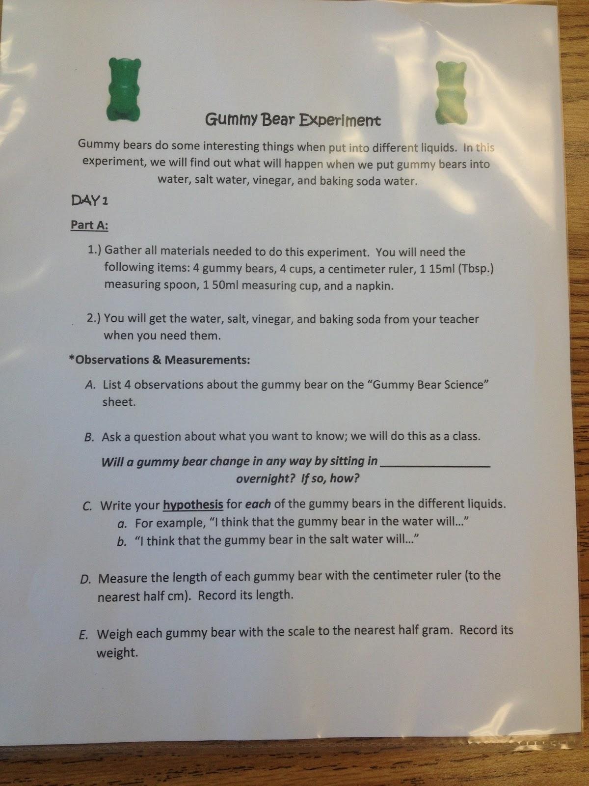 Third Grade S A Charm Gummy Bear Science Experiment