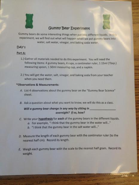 Pfeiffer' 3a Super Stars Gummy Bear Science Experiment