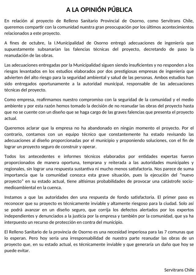 Servitrans se refiere a Relleno Sanitario Provincial de Osorno