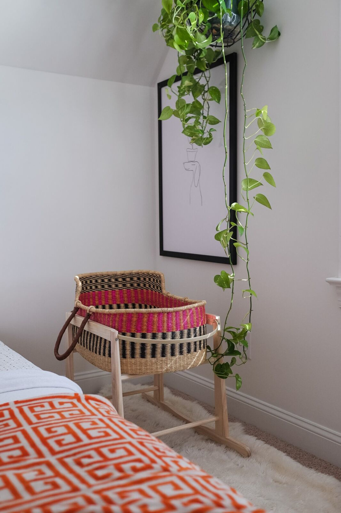 Growing Pothos in Nursery next to Bassinet - design addict mom