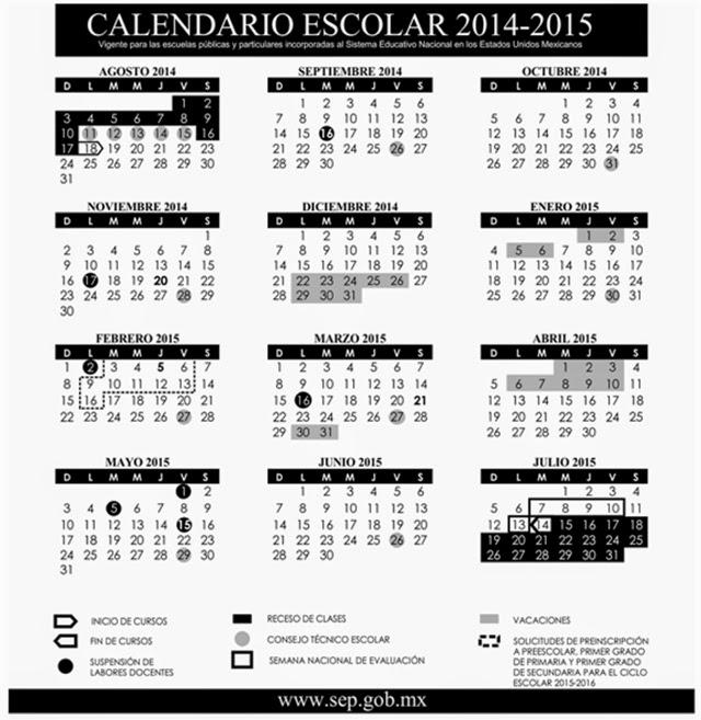 Escuelas Secundarias Tecnicas de Puebla: Calendario