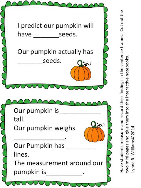 pumpkin lesson sentence stems
