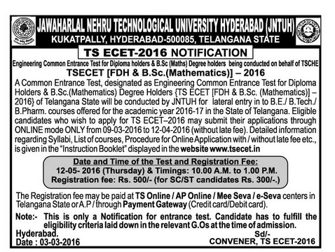 TS ECET,TS engineering common entrance test 2016,tsecet.in