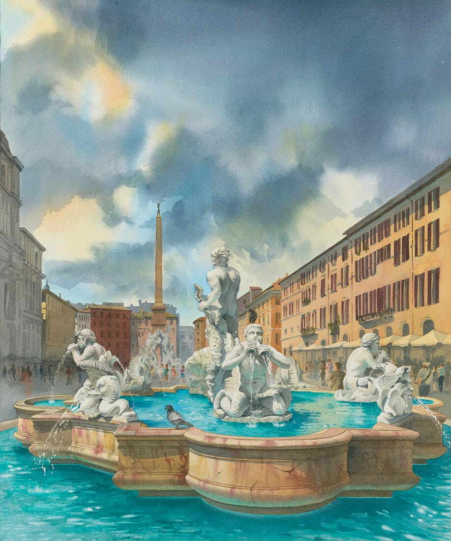 06-Piazza-Navona-Rome-Italy-Eleanor-Mill-European-Architecture-in-Watercolor-Paintings-www-designstack-co