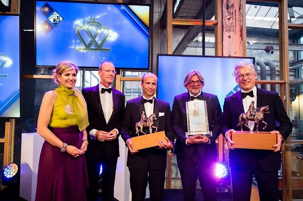 King Willem I award 2016 ceremony in Eindhoven, winners. Queen Maxima, King Willem I Foundation presents. Queen Maxima wore dress