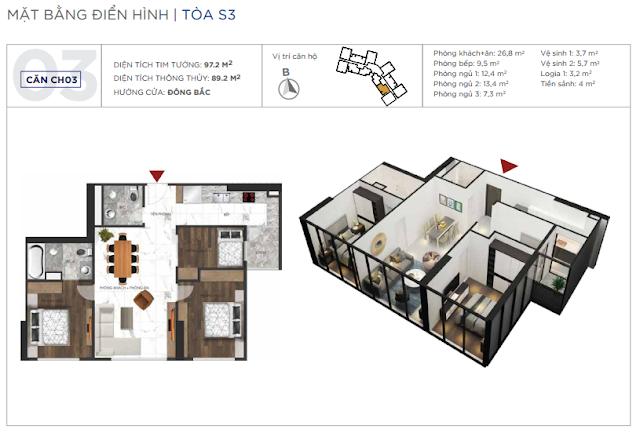 Loại căn hộ 02 phòng ngủ, 01 phòng đa năng, diện tích 89m2