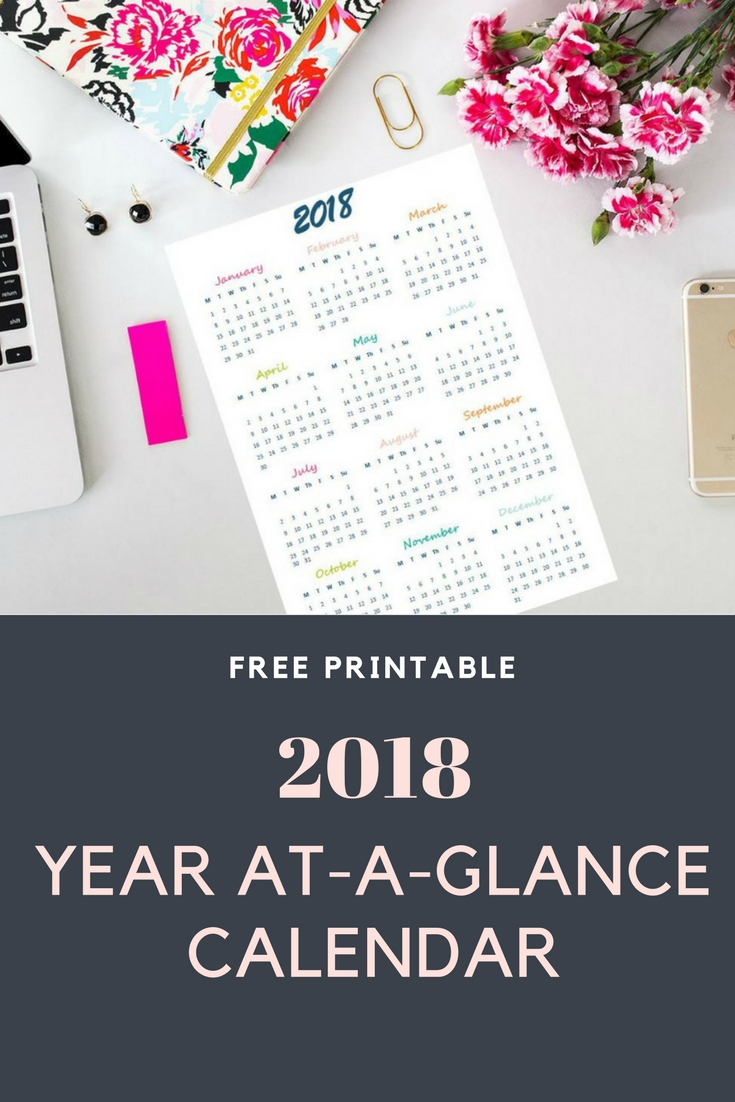 2018 Year At-A-Glance free printable calendar (english & greek version) | Ioanna's Notebook