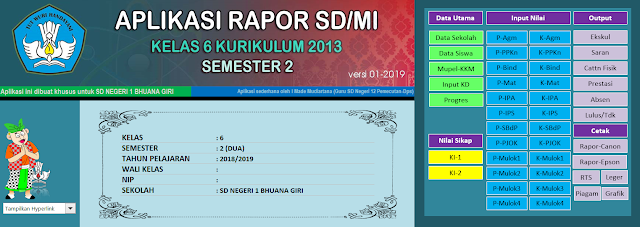 Aplikasi Raport K13 SD Semester 2 Revisi 2019 Mudiartana