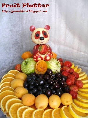 fruit carving panda and fruit platter