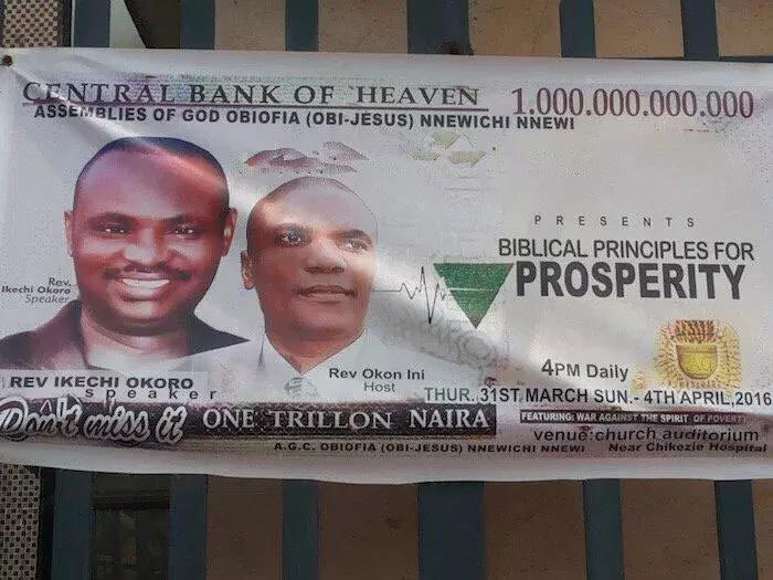Nnewi church manufactures 1 trillion naira note church crusade banner