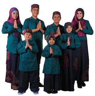 Baju Lebaran Untuk Keluarga Warna Hijau - Pink Setelan