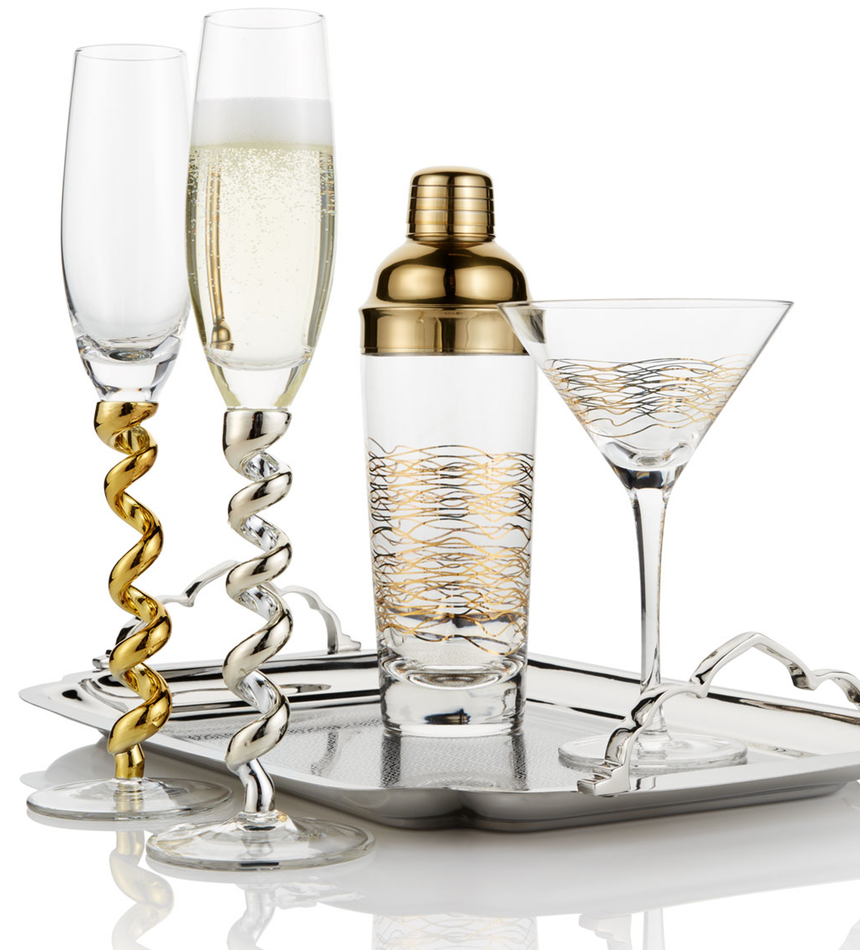 Qualia Glass Twist Flutes, Set of 4 (platinum or gold)