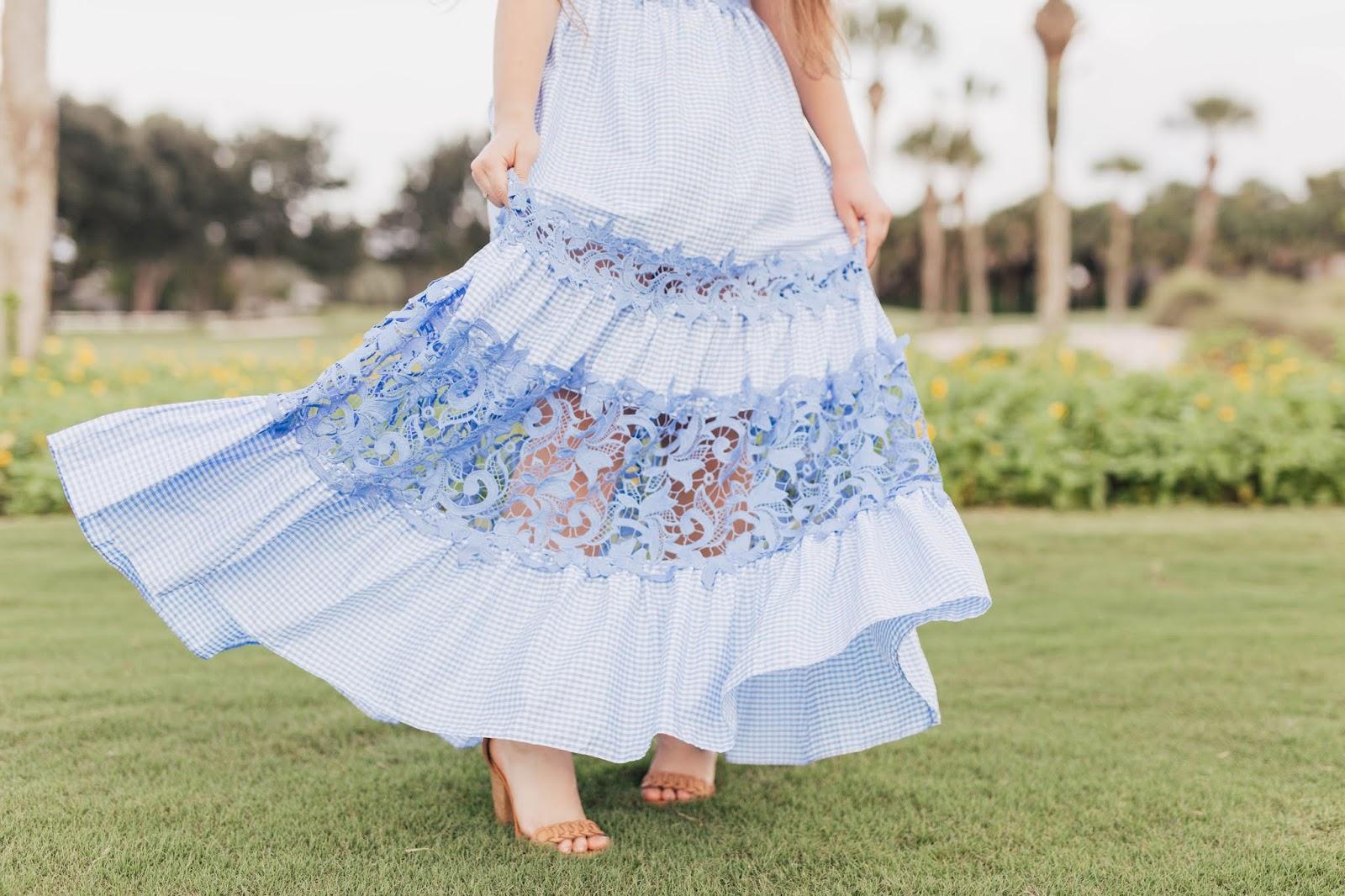 Brunette girl wearing Venus blue lace detail maxi dress