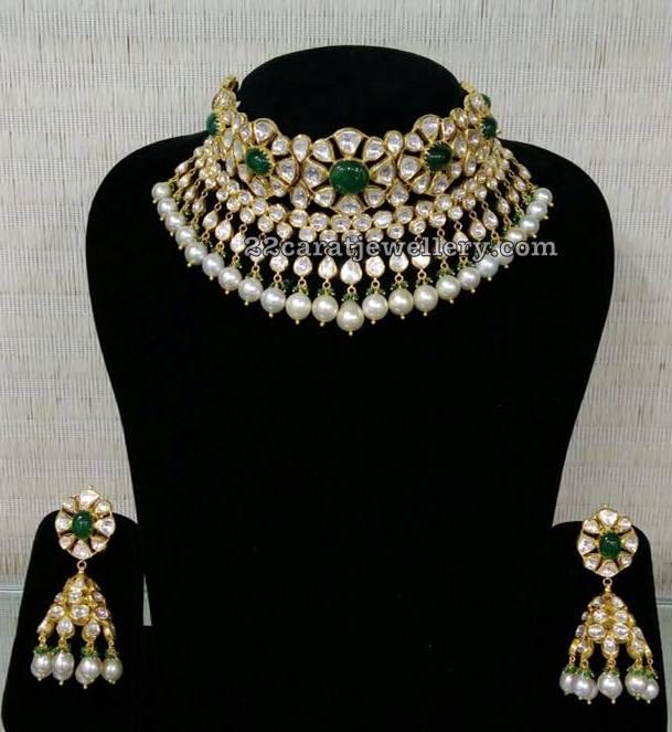 Polki Set with Zambian Emeralds