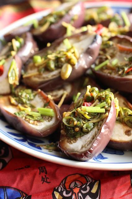 aubergines ail et gingembre, sauce soja