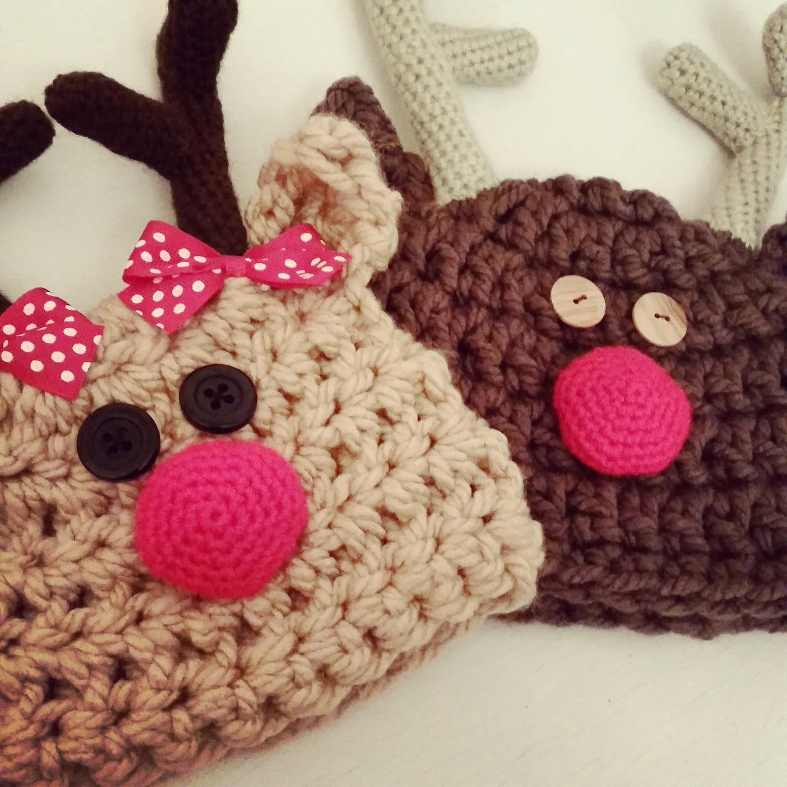 1ca1c16d58221 Gorro de Rudolf el Reno a Crochet - Ahuyama Crochet