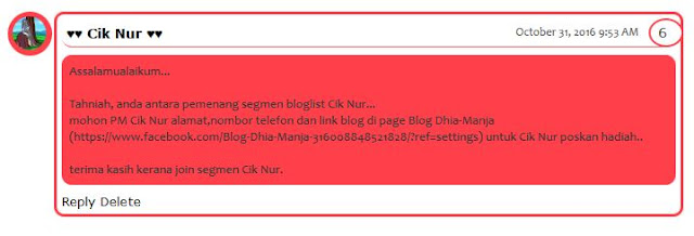 Menang SEGMEN:BLOGLIST NOVEMBER by CIK NUR