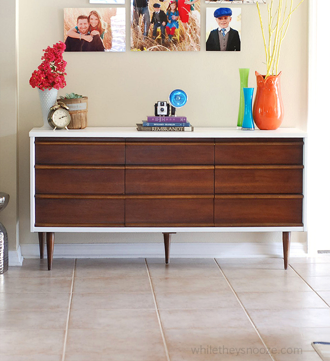Mid Century Modern Dresser Makeover: While They Snooze: Mid-Century Modern Dresser Makeover