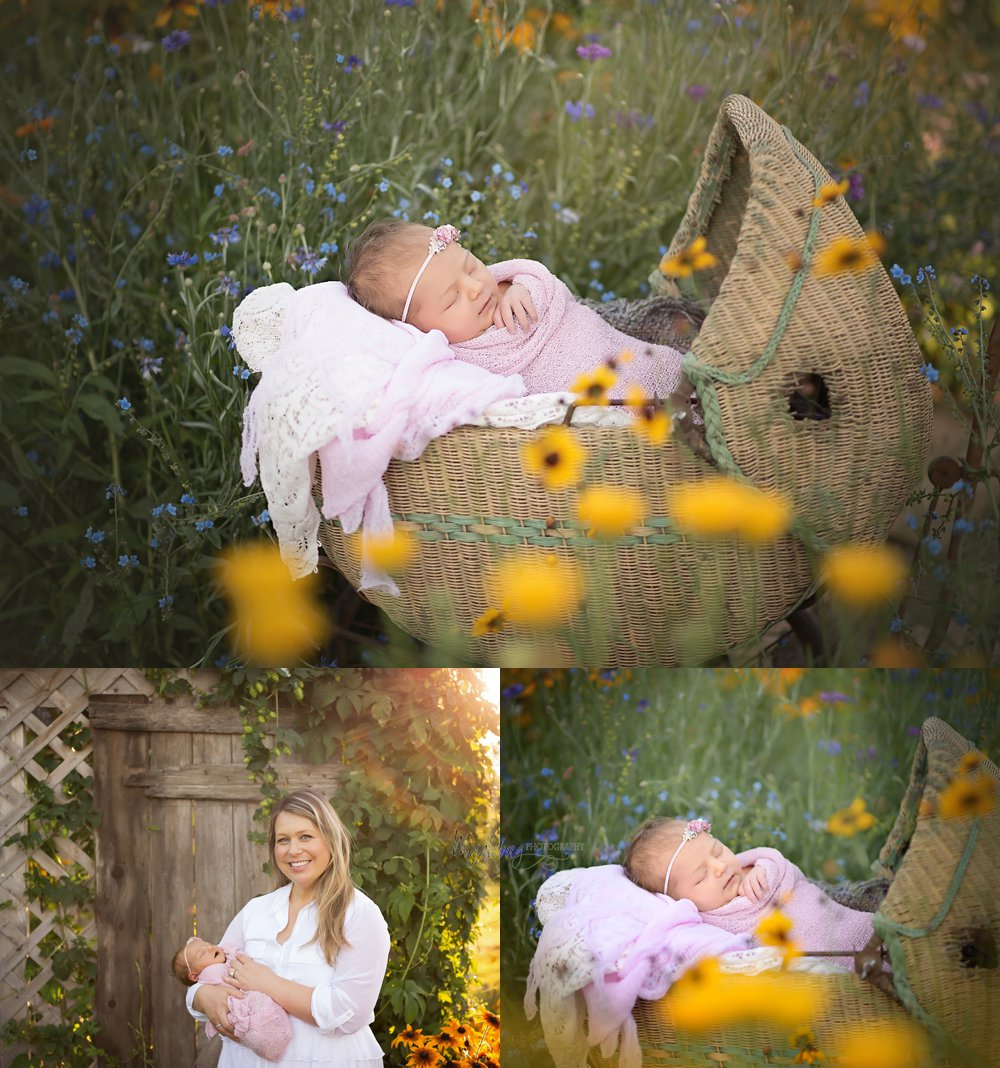 Newborn Baby Girl at Wigglebug Photography's  outdoor studio DeKalb IL Newborn Photographer