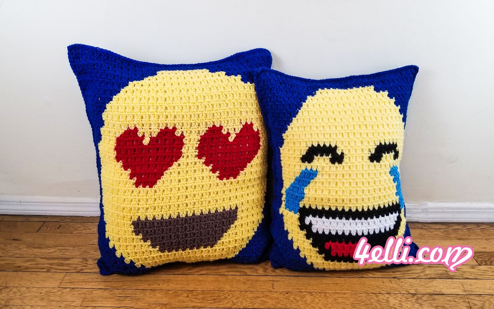 4elli: Block Stitch Graphing Technique: Emoji Pillows