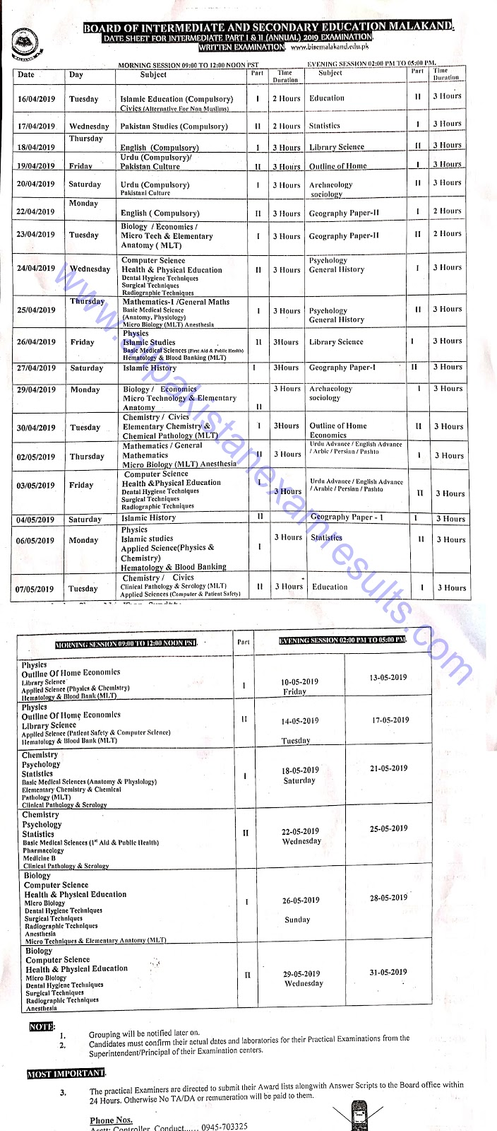 BISE Malakand Board Inter Date Sheet 2019