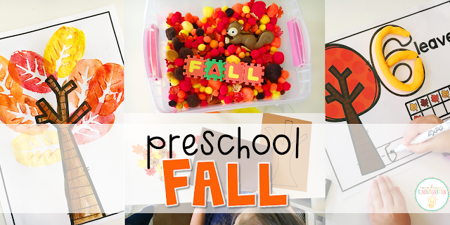 Tons of fall themed activities and ideas. Weekly plan includes books, literacy, math, science, art, sensory bins, and more! Perfect for fall in tot school, preschool, or kindergarten.