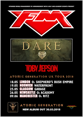 FM - Dare - Toby Jepson - Atomic Generation UK tour 2018 - poster