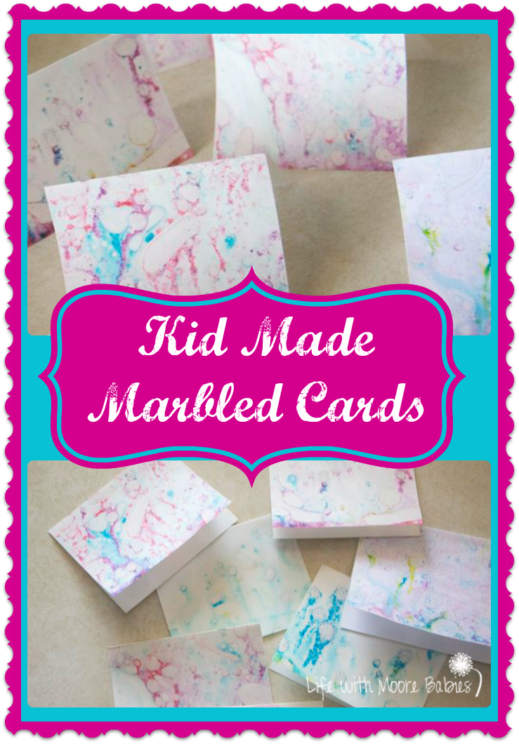 Kid Made Marbled Cards