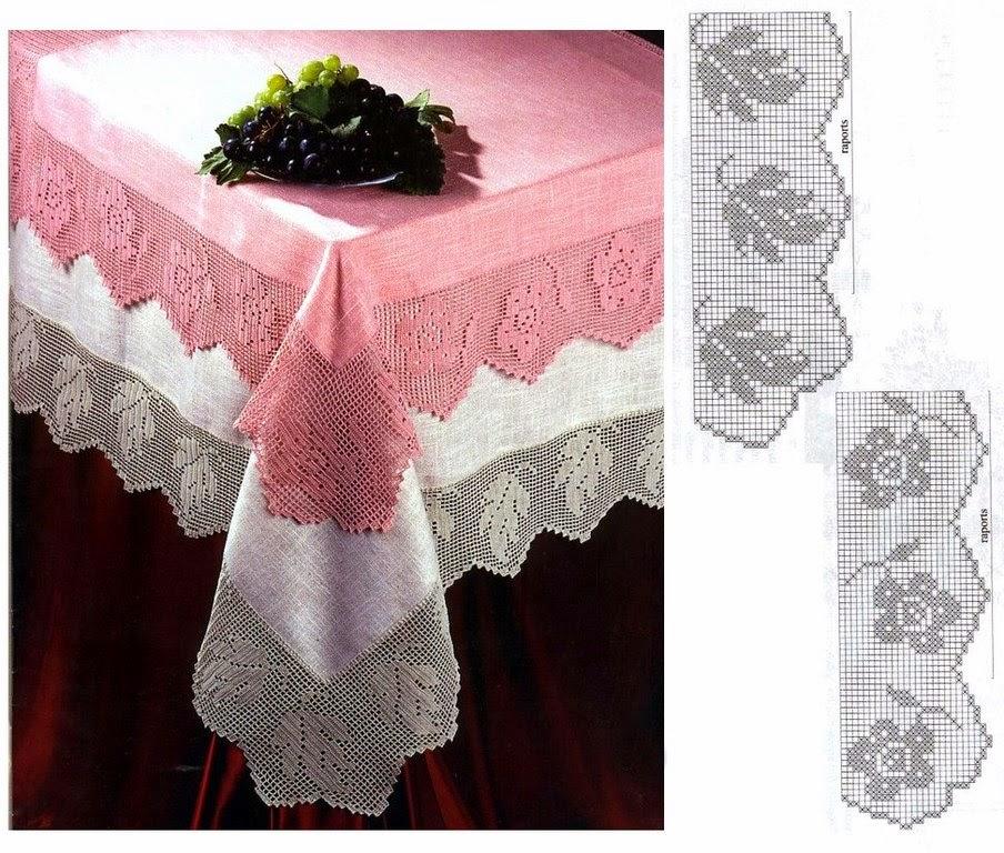 Hobby lavori femminili ricamo uncinetto maglia for Schemi bordure uncinetto filet