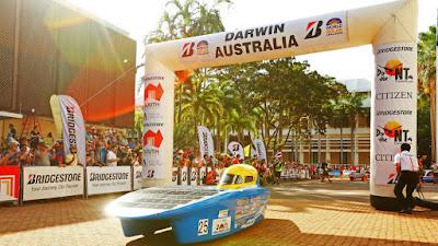 Solar-powered race car at the starting line of the Bridgestone World Solar Challenge in Darwin, Australia.