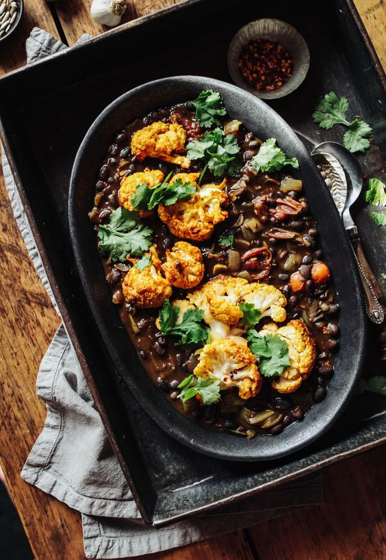 Spiced Black Beans with Turmeric Roast Cauliflower
