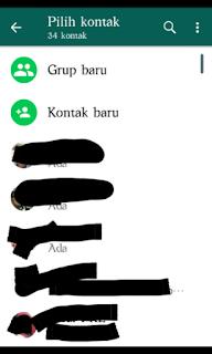 Memilih kontak di whatsapp yang akan dikirimi pesan