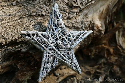 Звезда из веточек на ёлку
