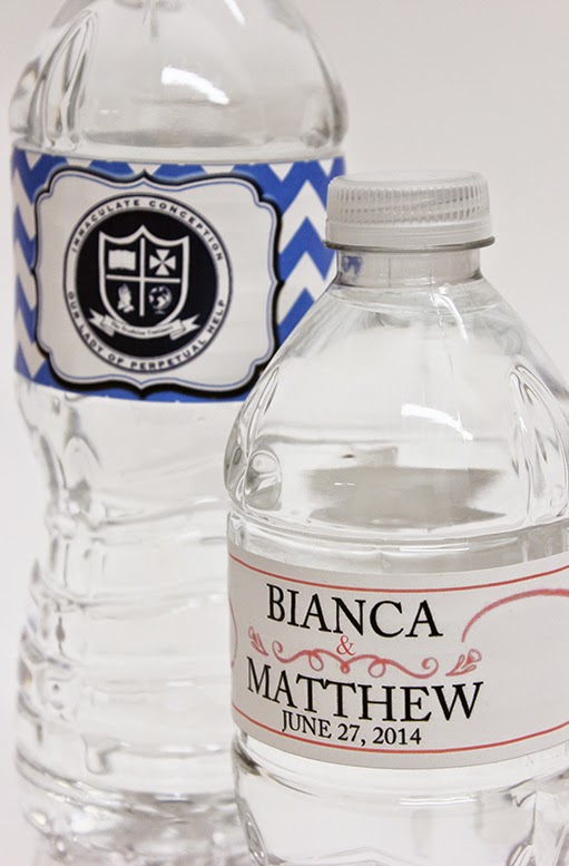 Personalized labels for water bottles - great for weddings, parties, holidays, school.