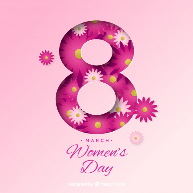 Women's day 8 march background in paper Free Vector