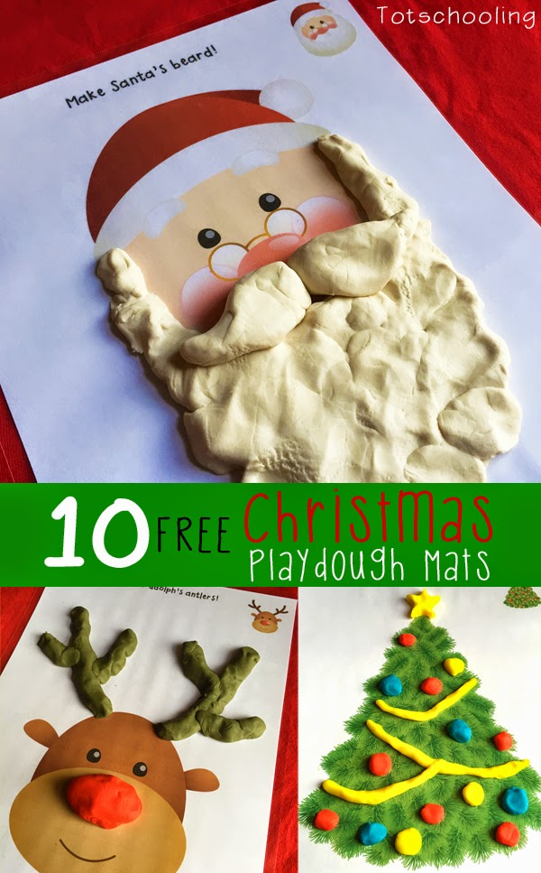 Free Printable Christmas Playdough mats including Santa Claus, Rudolph, Christmas tree, snowman, wreath, ornaments, presents, candy canes and more!