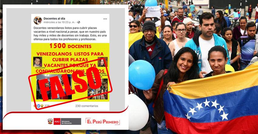 MINEDU: Es falso que 1500 profesores venezolanos cubrirían plazas disponibles en todo el Perú